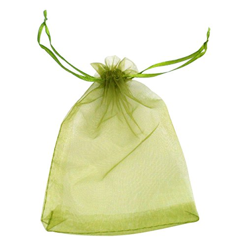 ATCG 100pcs 3x4 Inches Drawstring Organza Pouches Wedding Party Jewelry Favor Gift Candy Bags (GREEN) (Green Pouch Organza)