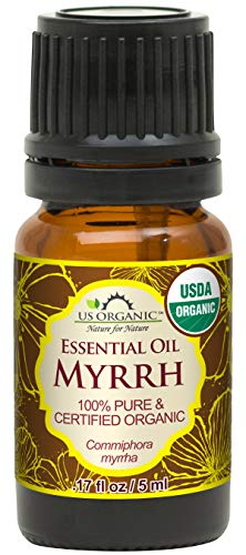 US Organic 100% Pure Myrrh (Commiphora myrrha) Essential Oil - Directly sourced from the Horn of Africa - USDA Certified Organic - Use Topically or in Diffuser - Suitable for All Skin Types (5 ml)