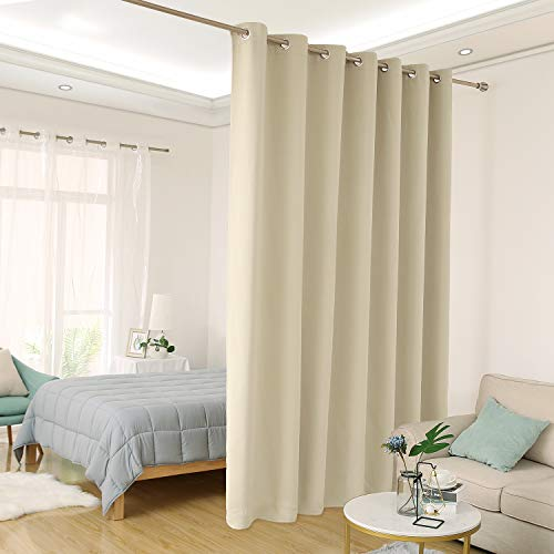 Deconovo Room Divider Curtain Thermal Insulated Blackout Patio Door Curtain Panel Wide Blackout Curtain for Sliding Glass Door, 8.3ft Wide x 8ft Tall, 1 Panel, Beige