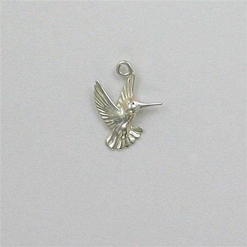 (Sterling Silver Graceful Hummingbird Charm Jewelry Making Supply, Pendant, Charms, Bracelet, DIY Crafting by Wholesale Charms)