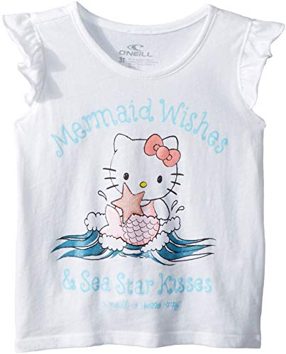 (O'Neill Kids Baby Girl's Hello Kitty¿ Mermaid Wishes Tank Top (Toddler/Little Kids) White 4 US Little)