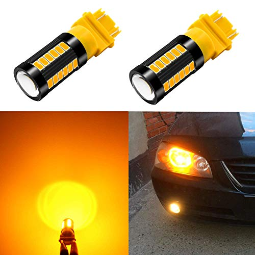 Alla Lighting 2800lm T25 3156 3157 LED Turn Signal Light Bulbs Xtreme Super Bright 3157 LED Bulbs High Power 5730 33-SMD LED 3157 Bulb 3057 3457 4157 4057 LED Signal Blinker Light, Orange Yellow (2pc)