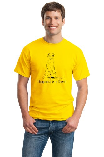 HAPPINESS IS A BOXER Adult Unisex T-shirt / Yellow Boxer Fan, Dog Lover Tee
