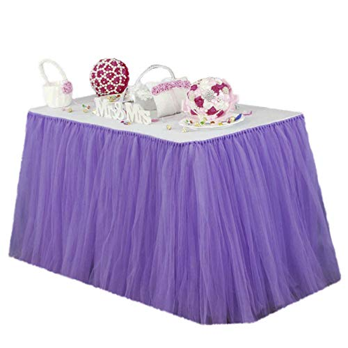 Vlovelife Lavender Tulle Table Skirt Tutu Tableware TableCloth Party Baby Shower Birthday Wedding Decorations Favor 100cm X 80cm Customized Size Available