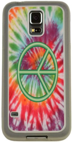 Rikki Knight Green Peace Sign on Tie Dye Design Case (Clear TPU) for Samsung Galaxy S5