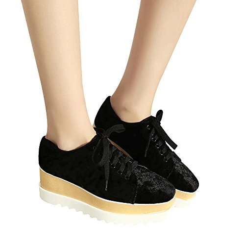 casuales de punta Plataforma UPS negra Jamron con con cuadrado con tacón Zapatillas alta suela antideslizante Soft Zapatillas mujer cuña Soft Cordones deporte para con xBwq0aCB7