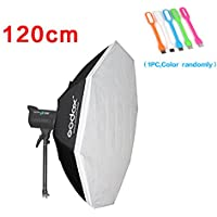 Godox BW 47 120cm Portable Strobe Octagon Softbox Bowens Mount Ring for Studio Speedlite Flash+CONXTRUE USB LED