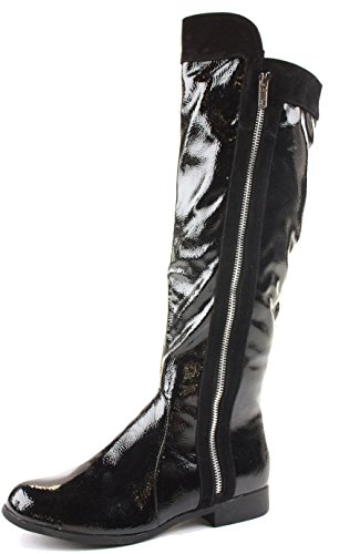 Low Black Patent Flat Ladies Heel Black shoeFashionista Womens Calf Style Knee High Size 4 Branded Leg Biker Boots Style Winter 5XfdSqwH