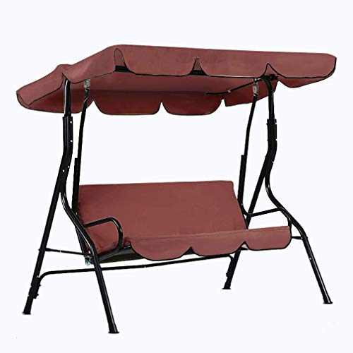dDanke Brown Patio Swing Canopy Cover Set - Swing Replacement Top Cover + Swing Cushion Cover for 3 Seat Swing Dustproof Protection, Cover Only (Swing Patio Covers Seat)