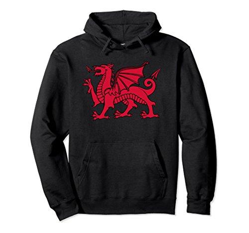 Unisex Welsh Red Dragon Flag of Wales Hoodie Large Black Ladies Welsh Dragon