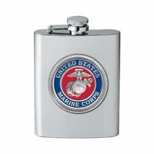 USMC United States Marine Corps 8 Ounce Pewter Decal Stainless Steel Flask Heritage Pewter