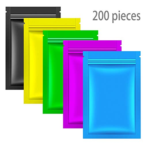 Whaline 200 Pcs Foil Bags, 3.3'' x 5.1'' Zip Lock Bag Flat Aluminum Foil Pouch Double-sided Resealable Food Storage Bags for Snacks Candy Home Kitchen Party Supplies (Gold, Blue, Green, Purple, Black) -