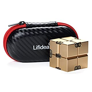 Lifidea Aluminum Alloy Metal Infinity Cube Fidget Cube (5 Colors) Handheld Fidget Toy Desk Toy with Cool Case Infinity Magic Cube Relieve Stress Anxiety ADHD OCD for Kids and Adults (Gold)