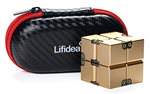 - Lifidea Aluminum Alloy Metal Infinity Cube Fidget Cube (5 Colors) Handheld Fidget Toy Desk Toy with Cool Case Infinity Magic Cube Relieve Stress Anxiety ADHD OCD for Kids and Adults (Gold)