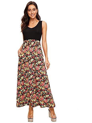 Verdusa Women's Casual Sleeveless Deep V Neck Sexy Maxi Long Dress Floral ()