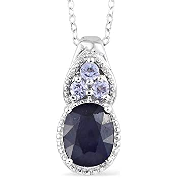 d7350a13ab3c 925 Sterling Silver Platinum Plated Oval Sapphire Tanzanite Pendant Necklace  for Women 20