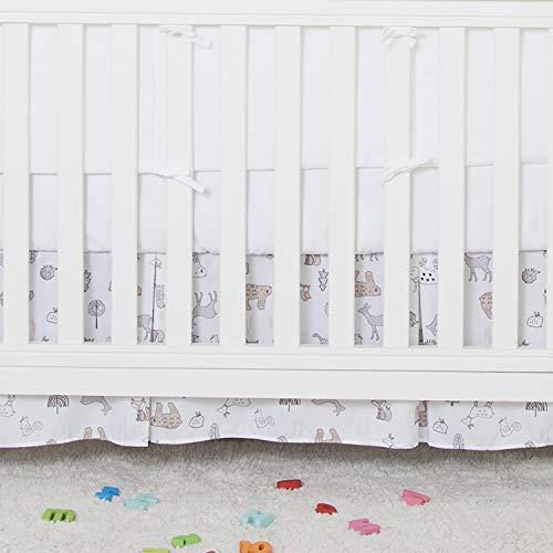TILLYOU Forest Woodland Crib Skirt Pleated, Fox Bear Deer Print, Nursery Crib Toddler Bedding Skirt for Baby Boys and Girls, 14'' Drop