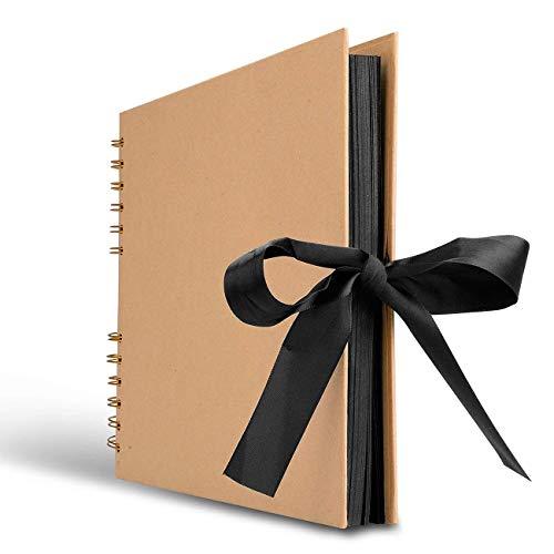 XRROOK Libro De Recuerdos, Álbum De Fotos Memoria 80 Páginas Negras, Ideal Para Regalos Aniversario Papel Artesanal...