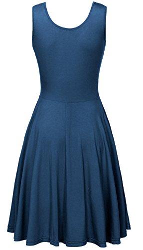 KorMei - Vestido - trapecio - Estrellas - Cuello redondo - Sin mangas - para mujer Azul