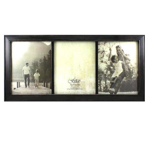 Fetco Home Decor Longwood Triple Frame, Rustic Black