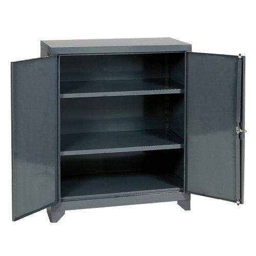 Edsal EHD4236 Industrial Gray 14 Gauge Steel Storage Cabinet, 2 Adjustable Shelves, 1800 lb. Per Shelf Capacity, 42