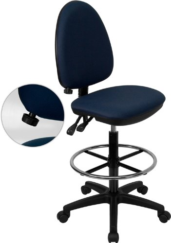 Mid-Back Fabric Multi-Functional Drafting Stool with Adjustable Lumbar Support Navy blue/No Arms
