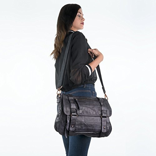 Black Bags Dudu Washed With Slate Woman Shoulder Flap Lived Leather fSwqxR7Yp
