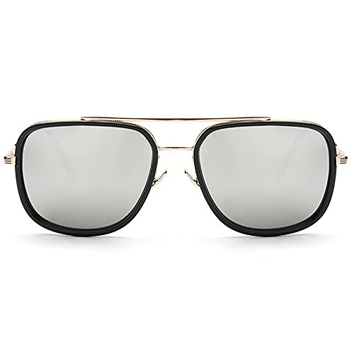 de Gafas UV400 sol metal Cuadrado Gafas Marco Oro sol de Plateado de retro Gafas Aviator wznXWOHO