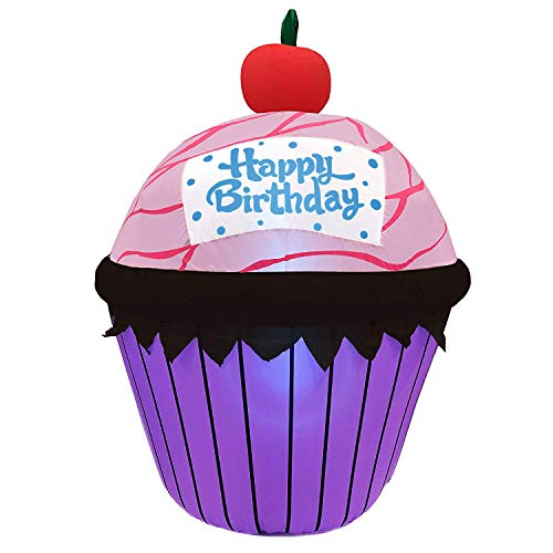 Jumbo Inflatable Happy Birthday Cup Cake | Extra Large Birthday Internal Fan Inflated Party Decoration Inflates in Moments | For Indoors or Outdoors (Tie Down and Stakes Included for Outdoor Use)