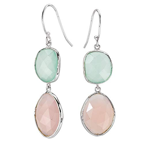 Rhodium Over 925 Sterling Silver Faceted Aqua & Pink Chalcedony Dangle Earrings