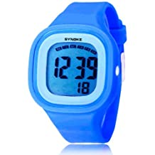 SYNOKE Jelly Diving & Swimming Waterproof Digital Watches Wrist Sports Watches Students Watches with Alarm Chronograph Long lasting battery Calendar Noctilucent (Blue)