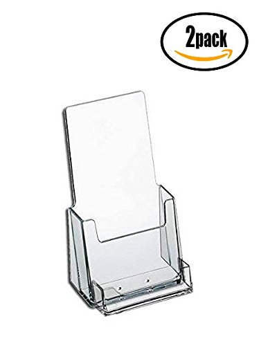 Distribute Business Cards - Source One Premium Counter Top Acrylic Clear Brochure Holder with Business Card Holder 4 Inch Wide (S1-CT-TRIWBC) (2 Pack)