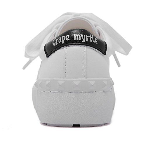 AllhqFashion Patron Cordones Puntera De Tacón Material Animados de Mujer Dibujos Mini Blanco Suave Redonda Cerrada salón Puntera vCrvxqwz