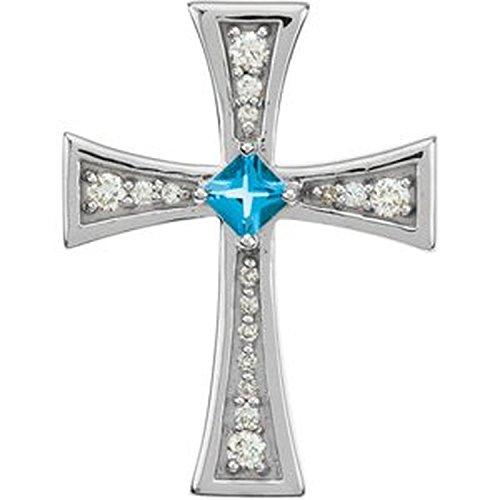 Diamond and Genuine Swiss Blue Topaz 14k White Gold Cross Pendant
