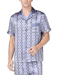 Silk Pyjama Sets Mens Short Sleeves Pajamas Homewear Male Silk Pijama Hombre Verano Summer