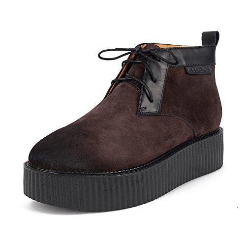 Cuir Top High Martin Bottes Homme Lacets Creeper Plateaforme Marron Punk wUCAUEfxqY