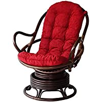 Lounge Swivel Rocking Java Chair Natural Rattan Wicker Handmade with Burgundy Cushion, Dark Brown