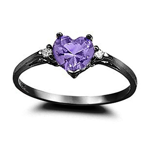 925 Sterling Silver Promise Ring Heart Shaped Simulated Amethyst Black Tone Rhodium PL Clear CZ Accent, Size-7