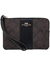 F58035 CORNER ZIP WRISTLET IN SIGNATURE COATED CANVAS WITH LEATHER STRIPE BROWN BLACK