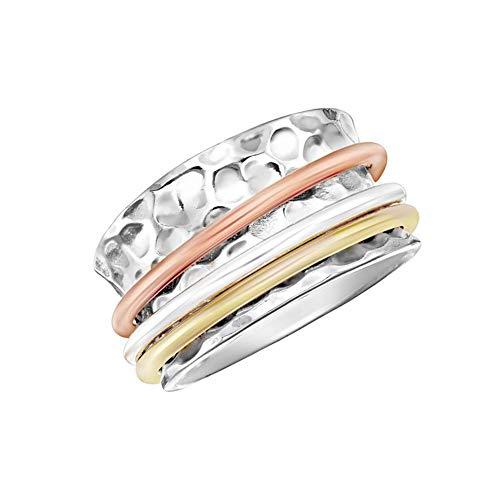 Stackable Set Of 7 Rings Tri Colored .925 STERLING SILVER Copper Brass Accent