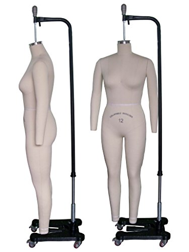Female Full Body Professional Dress Form Size 12 Collapsible shoulders W/ Two Removable Arms, Mannequin (Deluxe Series) by Only Mannequins®