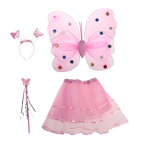Princess Fairy Costume Butterfly Costumes Outfit with Wings,Tutu,Wand and Headband for Girls Dress Up ,Ages 3-6,4pcs -