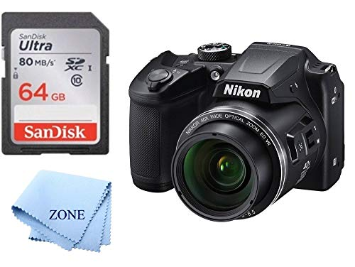Nikon COOLPIX B500 16MP Digital Camera with 3 Inch TFT LCD Screen Nikkor Lens with 40x Optical Zoom WiFi + 64GB Memory Card (Black) -