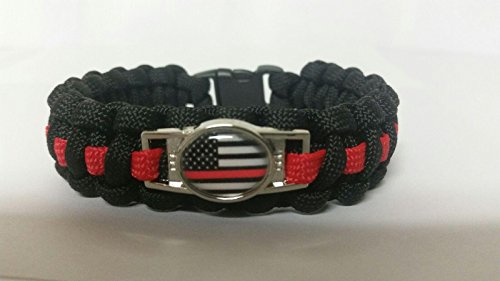 Thin Red Line American Flag Paracord Survival Bracelet with Charm By Bostonred2010 (8)