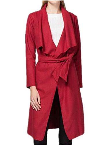 Parka Femme Printemps Automne Longues Trench Unicolore Mode Manteau Costume Hipster Elgante Manches Longues Revers avec Ceinture Coat Outerwear Rouge