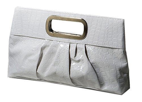 Chicastic Oversized Glossy Patent Leather Casual Evening Clutch Purse with Metal Grip Handle - (White Patent Bag)