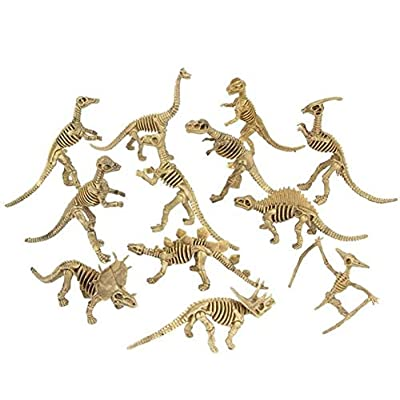Rhode Island Novelty Assorted Dinosaur Fossil Skeleton 6-7 Inch Figures, 12-Piece: Toys & Games