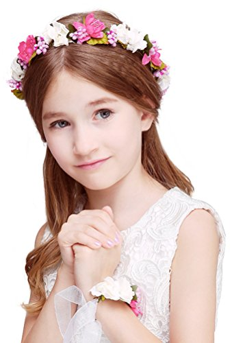 Bienvenu Girl Flower Crown with Floral Wrist Band for Wedding Festivals,Fuchsia
