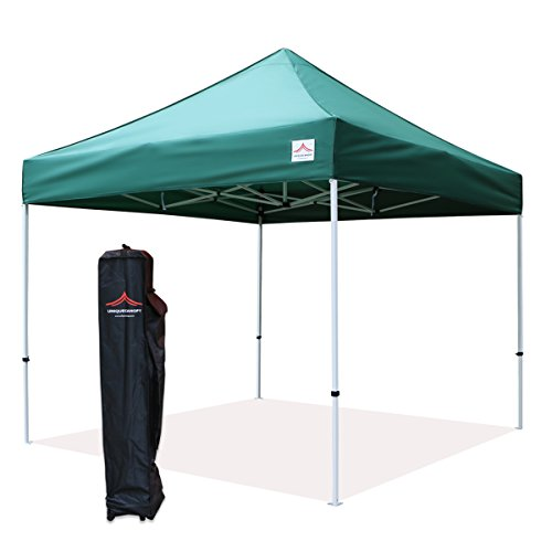 UNIQUECANOPY Classic 10x10 Ez Pop up Canopy Instant Tent Outdoor Party Gazebo Portable Folded Commercial shelter, with Wheeled Carrying Bag Dark - Party Gazebo Green Garden