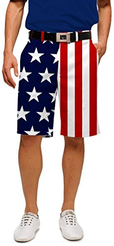 Loudmouth Golf Mens Shorts: Stars & Stripes - Size ()